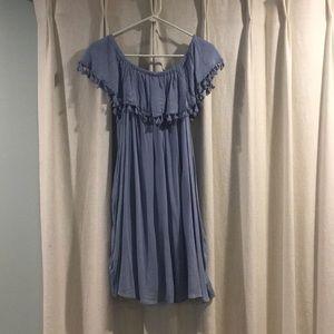 Grey-blue off the shoulder dress